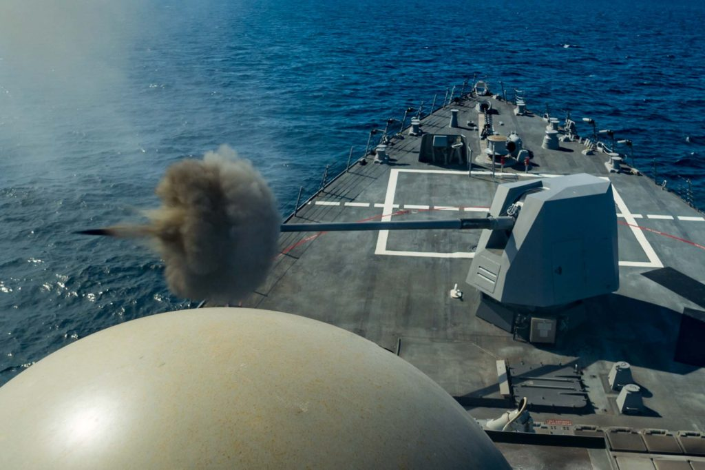 The five-inch Mk-45 naval gun system aboard the destroyer USS John Finn (DDG-113) was tested during the second of three planned sea trials in the Gulf of Mexico (Photo by Andrew Young/HII)