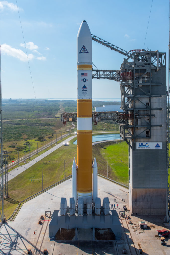 A United Launch Alliance (ULA) Delta IV rocket carrying the eighth installment of the Wideband Global SATCOM (WGS) satellite for the United States Air Force lifts off from Space Launch Complex-37