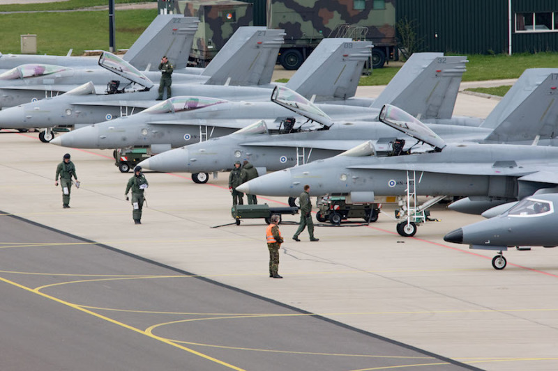 Finland has expanded the scope of the mid-life update of its F-18C Hornet fighters, some of which are seen here during an exercise in the Netherlands, and which will now include MIDS-JTRS terminals (USAFE photo)