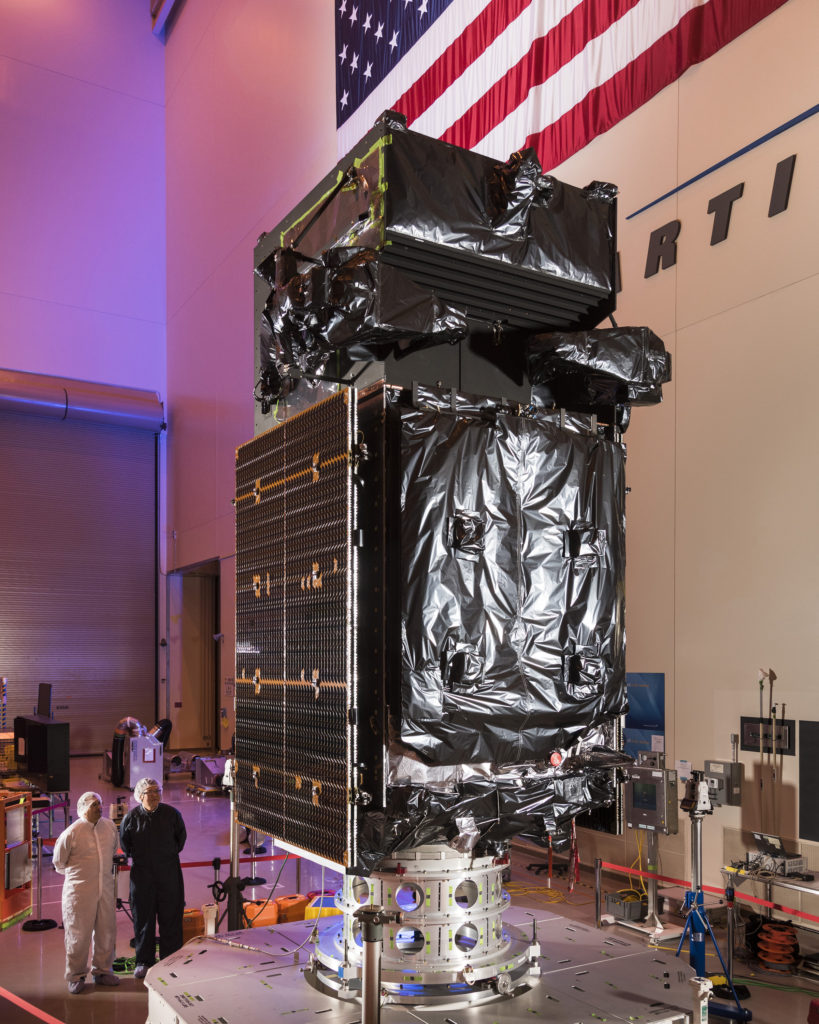 Shown here, Lockheed Martin engineers inspect the next Space Based Infrared System (SBIRS) geosynchronous (GEO) Flight 3 satellite at the company's Sunnyvale, California, facility