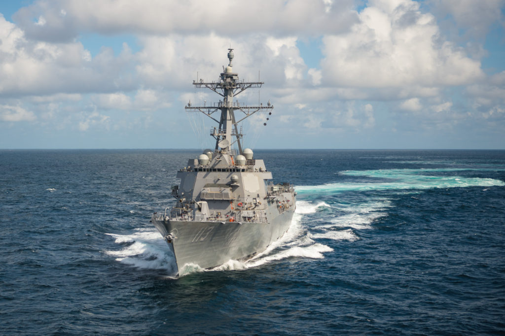 Ingalls Shipbuilding's 29th Arleigh Burke (DDG-51) destroyer USS John Finn (DDG-113) sails the Gulf of Mexico during Alpha sea trials (Photo by Lance Davis/HII)