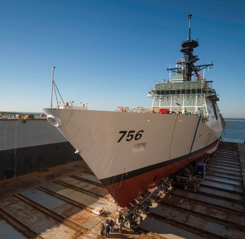 USCGC Kimball (WMSL-756) moved across land to the dry dock