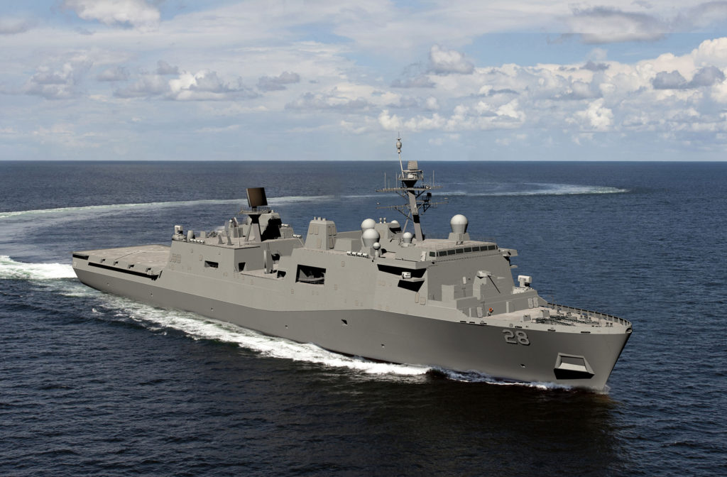 HII's Ingalls Shipbuilding division was awarded a $1.46 billion, fixed-price incentive contract for the detail design and construction of the amphibious transport dock USS Fort Lauderdale (LPD-28) (HII rendering)