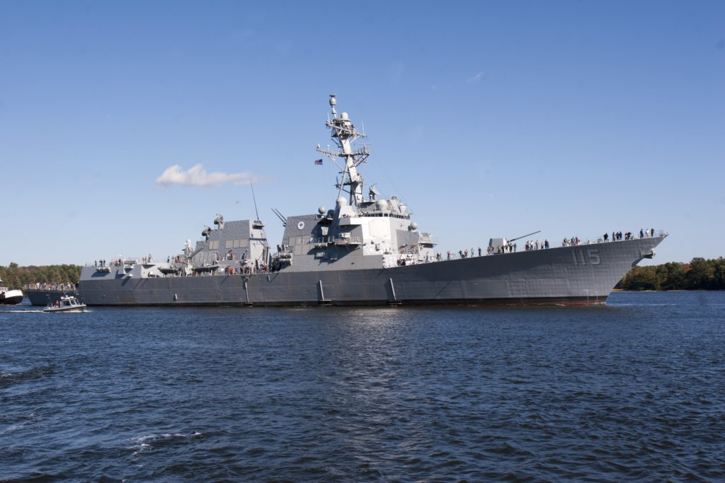 The future USS Rafael Peralta (DDG-115) sets sail for the first time to conduct initial at-sea builder's trials off the coast of Maine (U.S. Navy Photo/Released)