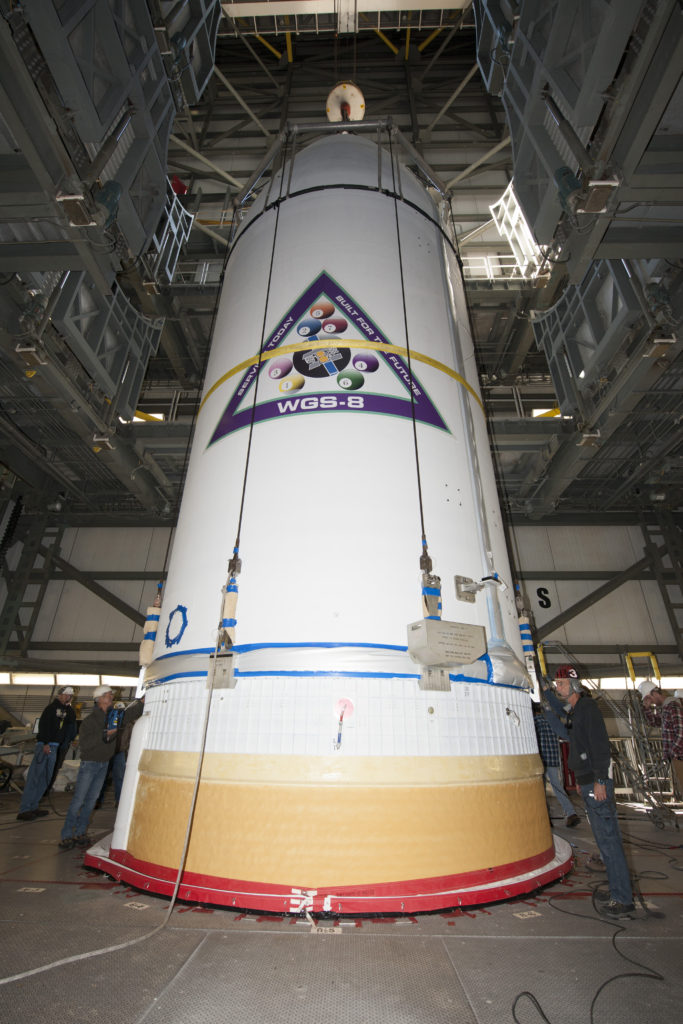 The U.S. Air Force's eighth Wideband Global SATCOM (WGS) satellite, encapsulated in a 16.4-foot/5-meter payload fairing, is mated to a Delta IV booster at Cape Canaveral Air Force Station's Space Launch Complex (SLC)-37