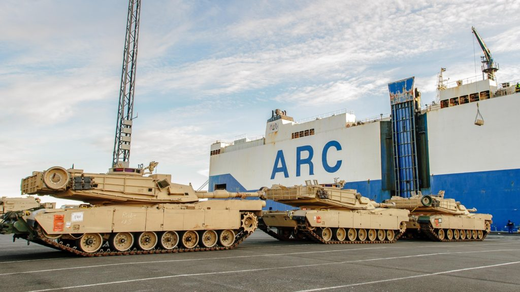 M1A2 Abrams tanks and other military vehicles from 3rd Brigade Combat Team, 4th Infantry Division, are unloaded off the ship ARC Resolve at the port in Bremerhaven, Germany, January 6, 2017. 3-4 ABCT's arrival marks the start of back-to-back rotations of armored brigades in Europe as part of Atlantic Resolve. The vehicles and equipment, totaling more than 2,700 pieces, will be shipped to Poland for certification before deploying across Europe for use in training with partner nations. This rotation will enhance deterrence capabilities in the region, improve the U.S. ability to respond to potential crises and defend allies and partners in the European community. U.S. forces will focus on strengthening capabilities and sustaining readiness through bilateral and multinational training and exercises (U.S. Army photo by Staff Sergeant Micah VanDyke, 4th ID MCE Public Affairs/Released)