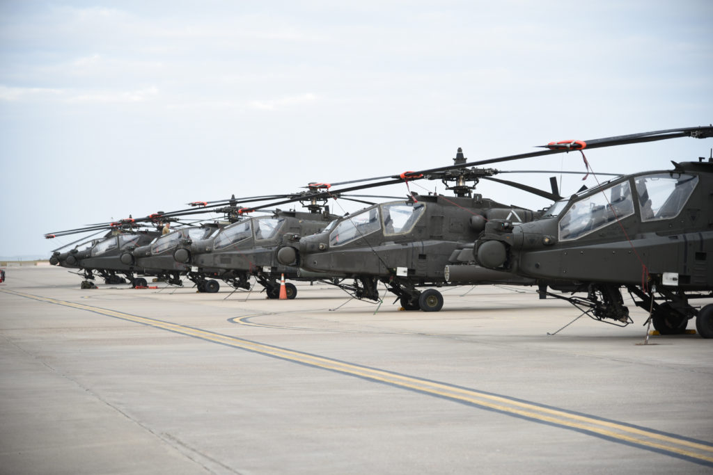 Twenty AH-64 Apache helicopters with the 1-501st waited at the Corpus Christi Army Depot before they could get loaded onboard a large vessel that could take them to Europe for Operation Atlantic Resolve (Photo Credit: Ms. Kiana W Allen (AMC))