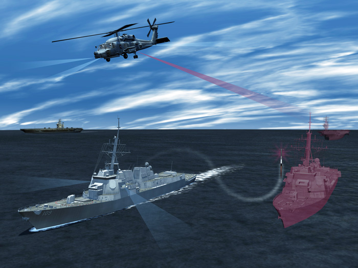Lockheed Martin's Advanced Off-Board Electronic Warfare (AOEW) Active Mission Payload (AMP) AN/ALQ-248 system, a pod hosted on an MH-60R Seahawk or MH-60S Seahawk, will enhance the way the U.S. Navy detects and responds to anti-ship missile threats