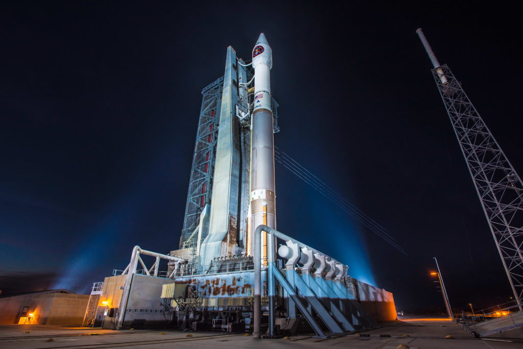 An Atlas V rocket stands ready to launch the Air Force's third SBIRS satellite