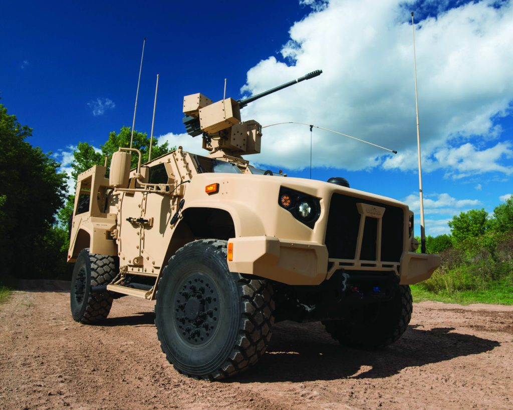 The Oshkosh JLTV is equipped with the EOS (Electro Optic Systems) R-400S-MK2 remote weapons system and the Orbital ATK M230 LF 30-mm gun
