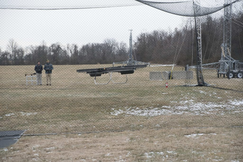 Army researchers and industry partners fly a prototype rectangular-shaped quadcopter during a visit from DOD officials to Aberdeen Proving Ground, Maryland, January 10, 2017 (Photo Credit: Jhi Scott, ARL)