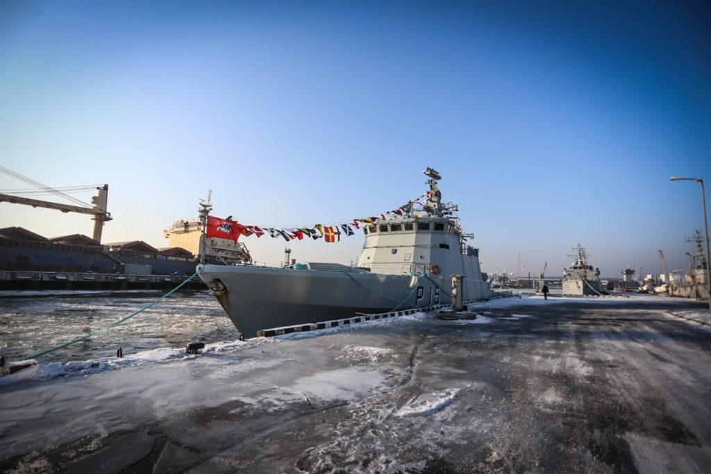 Lithuanian Navy patrol ship LNS Sėlis (P15) commissioned and named at a ceremony in Klaipėda