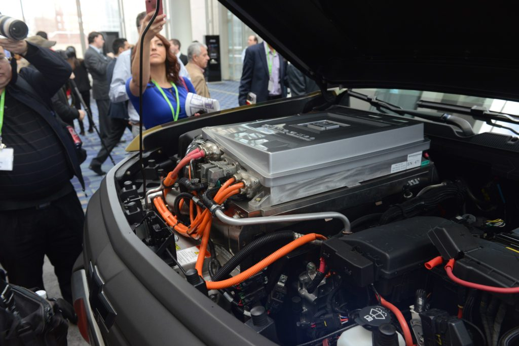 A look under the hood of the ZH2 hydrogen fuel cell electric vehicle was allowed at the Washington Auto Show, January 26, 2017 (Photo Credit: David Vergun)