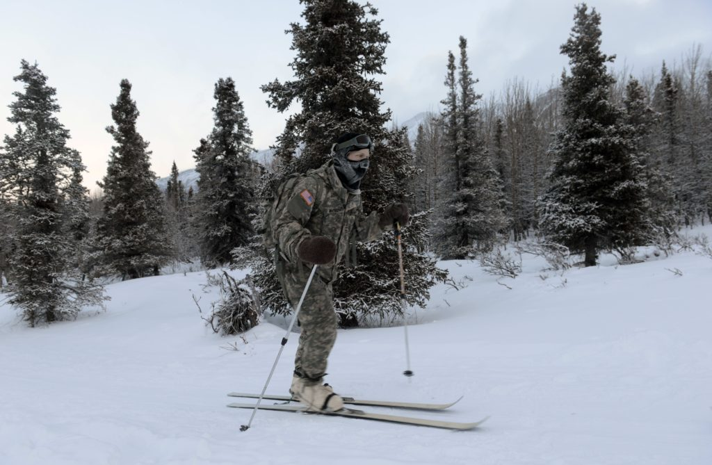 A student cross country skis on White Rocket skis. The boots are called Vapor Barrier and keep feet warm and dry (Photo Credit: David Vergun)