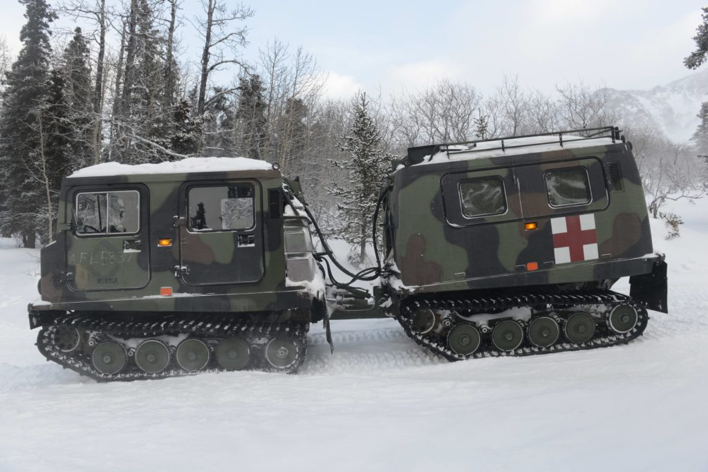 The Small Unit Support Vehicle is used at NWTC for negotiating steep, snowy terrain. At extreme low temperatures, all vehicles can fail to operate, making reliance on skis and snowshoes a vital skill (Photo Credit: David Vergun)