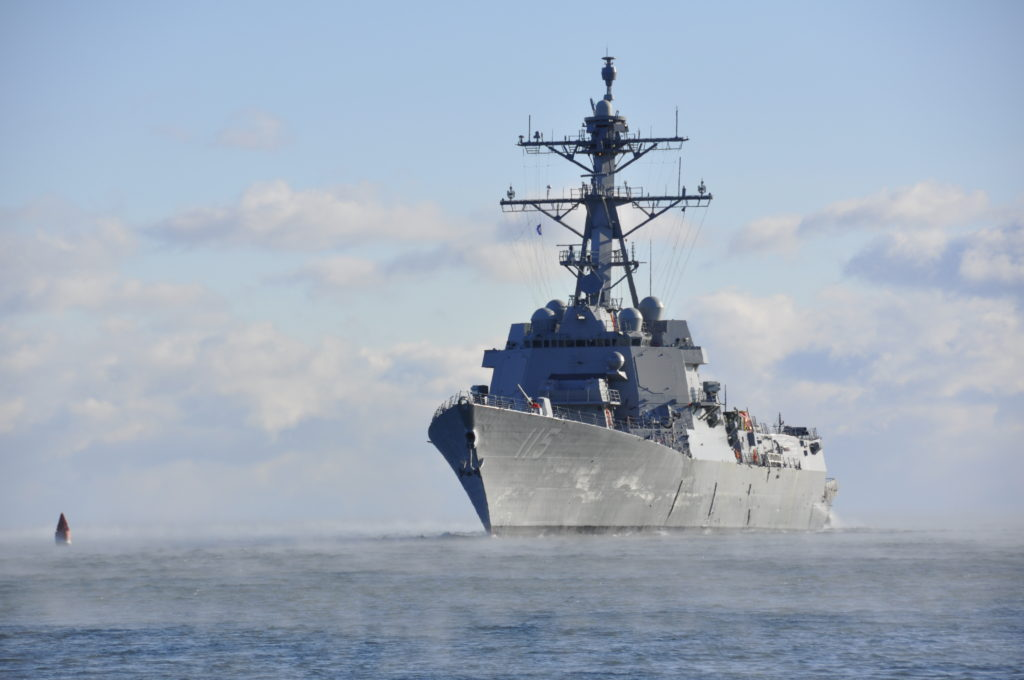The future USS Rafael Peralta (DDG-115) successfully completed acceptance trials after spending two days underway off the coast of Maine (U.S. Navy photo/Released)