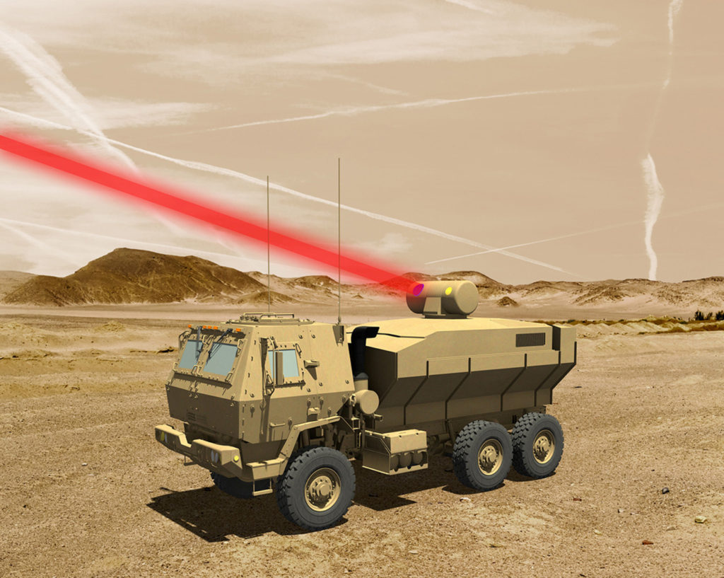 A rendering of a truck mounted 60 kW laser weapon system for tactical U.S. Army vehicles (Graphic: Lockheed Martin)