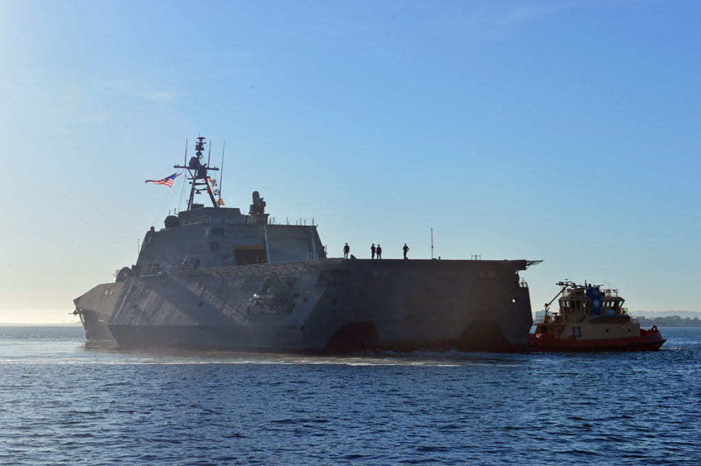 Official U.S. Navy file photo of littoral combat ship USS Montgomery (LCS-8) completing its maiden voyage from Mobile, Alabama, to San Diego, November 8, 2016