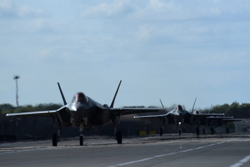 F-35 Lightning IIs from the 34th Fighter Squadron at Hill Air Force Base, Utah, taxi after landing at Royal Air Force Lakenheath, England, April 15, 2017. The fifth generation, multi-role fighter aircraft is deployed here to maximize training opportunities, affirm enduring commitments to NATO allies, and deter any actions that destabilize regional security (U.S. Air Force photo/Airman 1st Class Eli Chevalier)