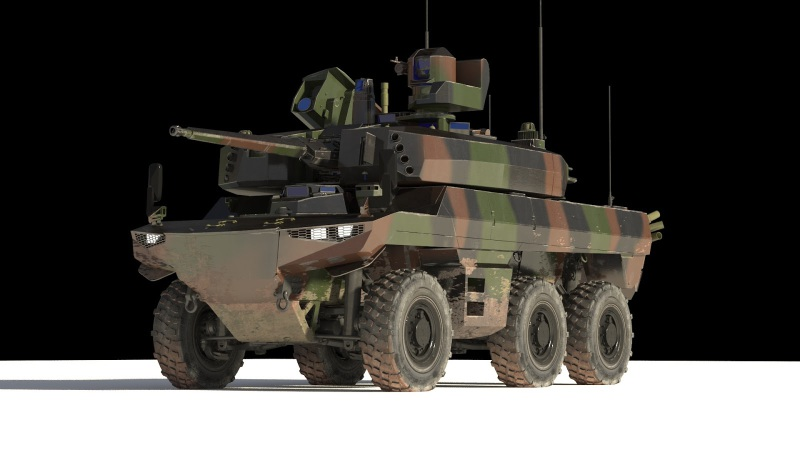 A prototype of the Jaguar 6×6 wheeled armored vehicle, armed with a 40-mm gun and anti-tank missiles, which will replace the French army's wheeled light tanks (FR army photo)