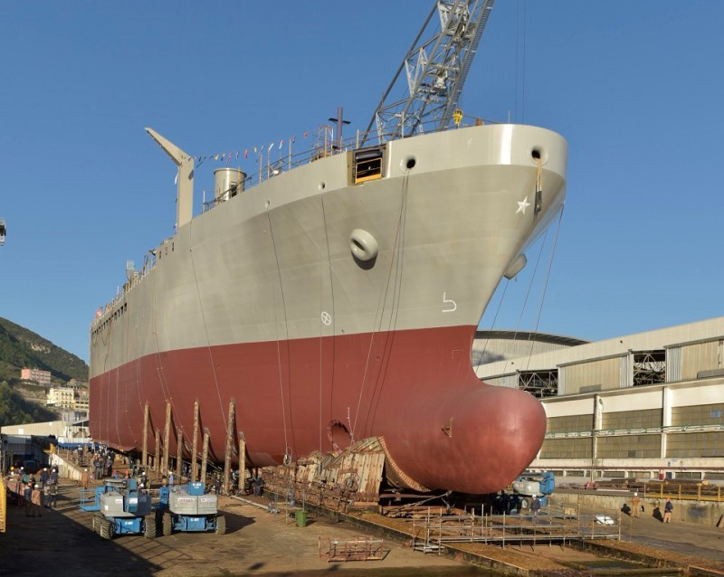 The bow section of the Italian navy's future logistic ship, Vulcano, shortly before its launch. It will be transported by sea to the Muggiano shipyard, near La Spezia, where it will be joined with the stern section being built there (Fincantieri photo)