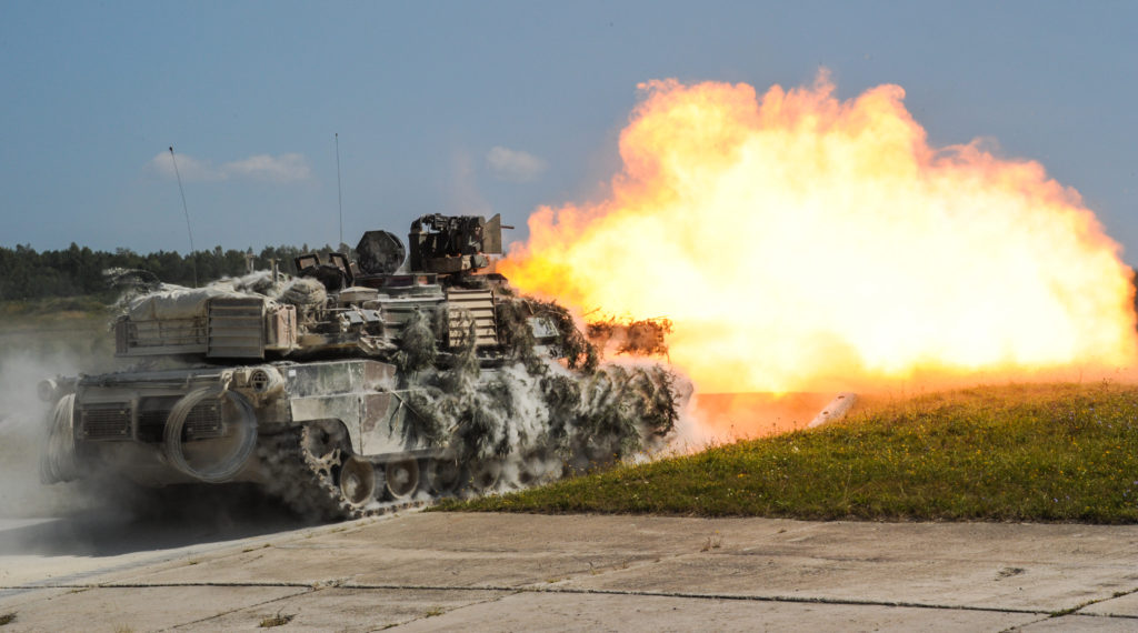 Soldiers fire an M1A2 SEPv2 Abrams Main Battle Tank during exercise Combined Resolve VII at the 7th Army Training Command in Grafenwoehr, Germany, August 18, 2016. They are assigned to 2nd Battalion, 7th Infantry Regiment, 1st Armored Brigade Combat Team, 3rd Infantry Division. Combined Resolve is a U.S.-led combined arms exercise designed to prepare U.S. and European forces for multinational operations. Combined Resolve VII includes more than 3,500 participants from 16 NATO and European partner nations (Photo Credit: Markus Rauchenberger)