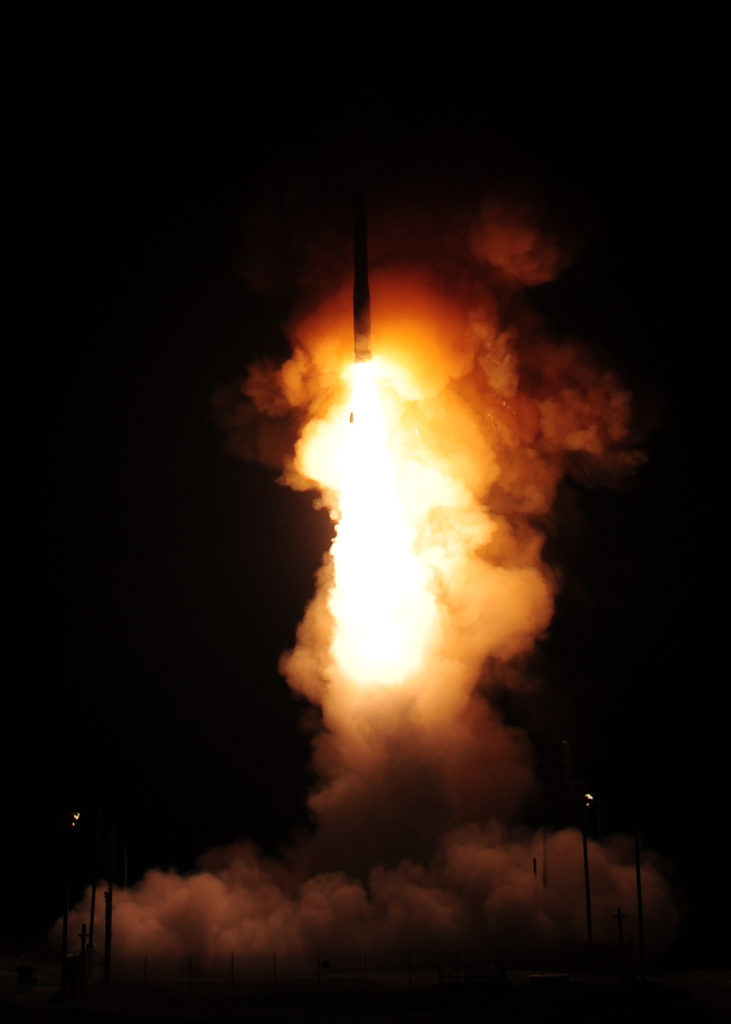 An unarmed LGM-30G Minuteman III Intercontinental Ballistic Missile (ICBM) launches during an operational test at 12:03 a.m., PDT, April 26, from Vandenberg Air Force Base, California (U.S. Air Force photo by Mark P. Mackey)