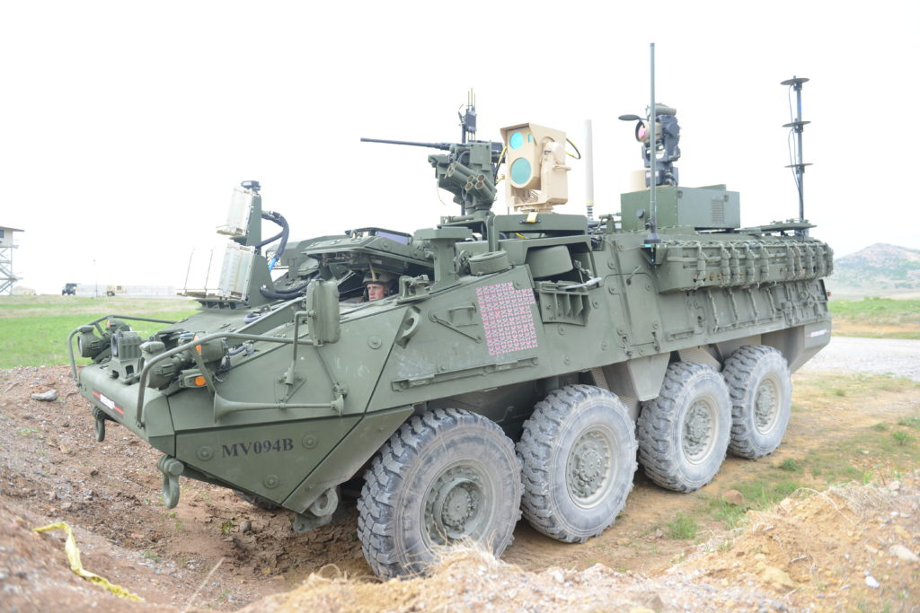 This Mobile High-Energy Laser-equipped Stryker was evaluated, April 12, during the 2017 Maneuver Fires Integrated Experiment at Fort Sill, Oklahoma. The MEHEL can shoot a drone out of the sky using a 5-kW laser (Photo Credit: C. Todd Lopez)