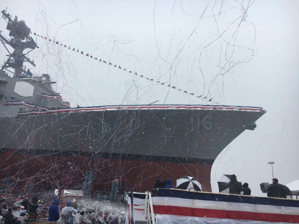 General Dynamics Bath Iron Works Christens Future USS Thomas Hudner (DDG-116)