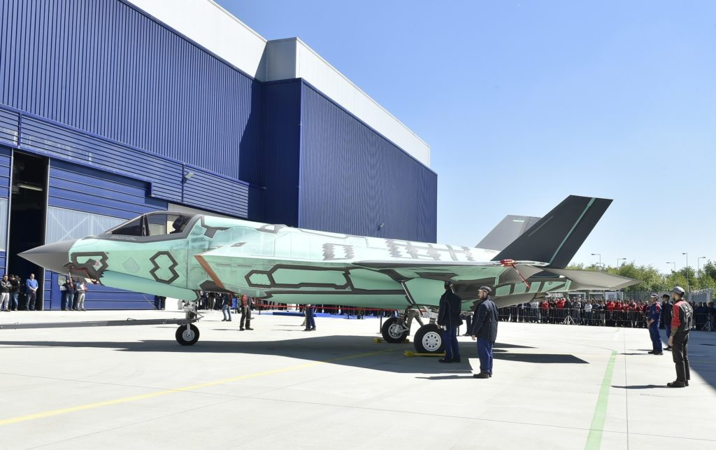 The first F-35B built at the Cameri, Italy, Final Assembly & Check-Out (FACO) facility rolls out May 5 (Aeronautica Militare Photo)