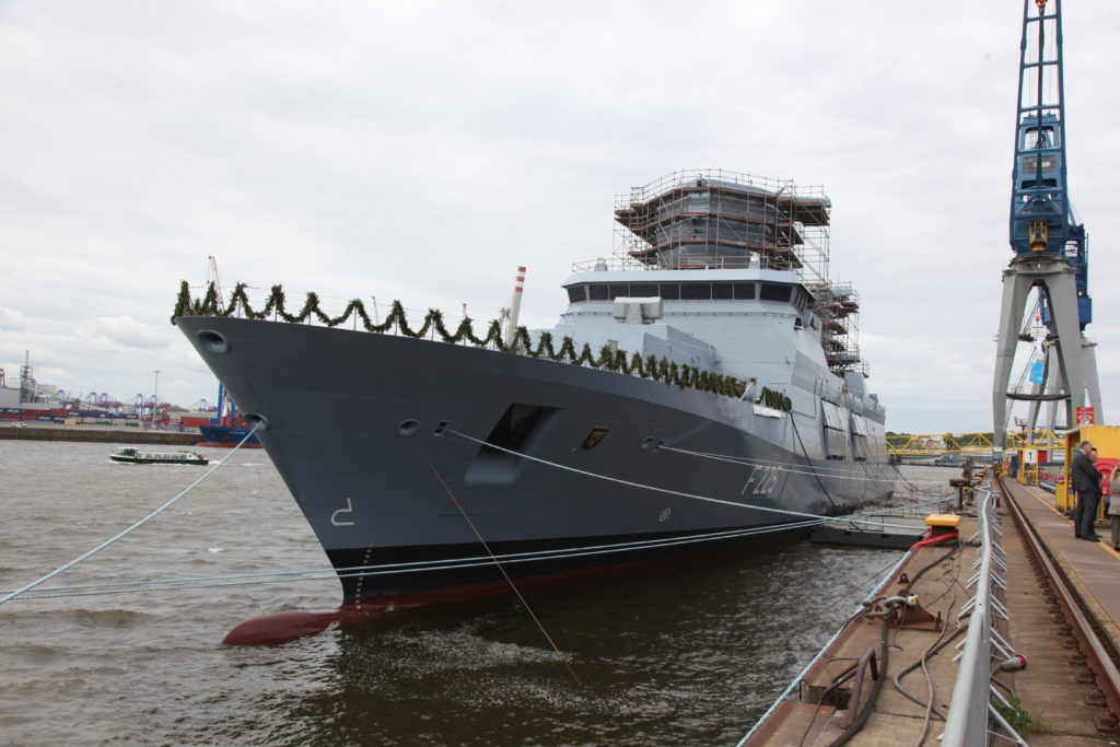 Germany Navy frigate «Rheinland-Pfalz» christened in Hamburg