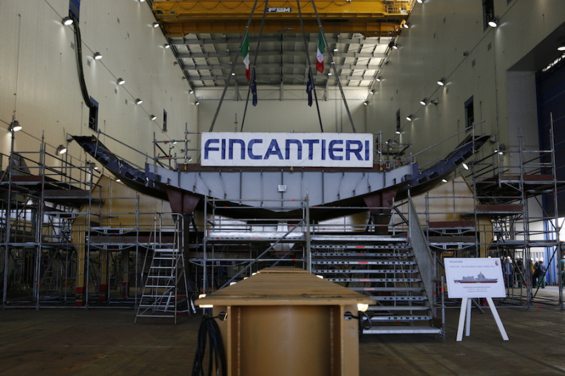 The keel of the lead ship of Italian navy's new class of multipurpose OPVs, was laid at Fincantieri's shipyard at Muggiano on May 9. It is due to be delivered in 2021 (Fincantieri photo)