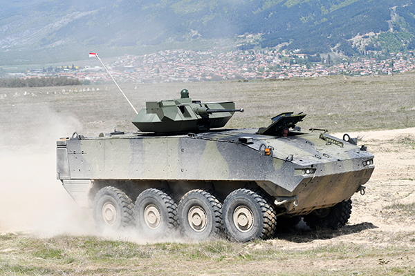 The Piranha IV, armed with a 30-mm remote-controlled weapon station and an anti-tank guided missile system, seen here during its demonstration in Bulgaria, where it is competing for the Battalion Battle Group contract (GDELS photo)