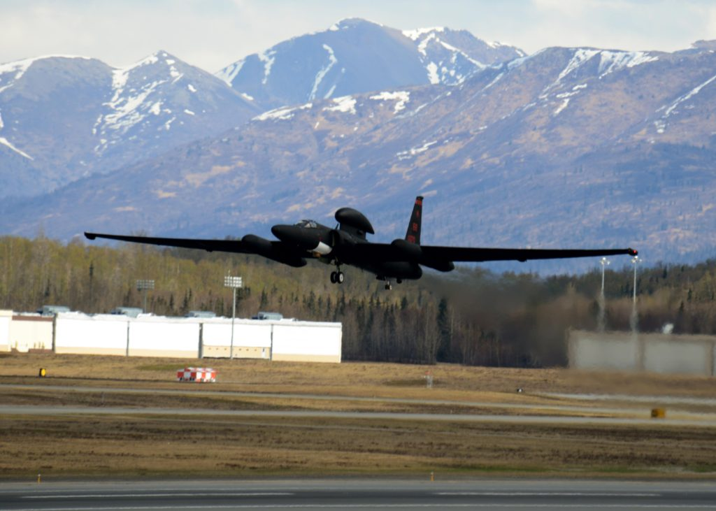 A U-2S Dragon Lady aircraft takes off during exercise Northern Edge 17 at Joint Base Elmendorf-Richardson, Alaska, May 8, 2017. The U-2S participated for the first time in Northern Edge, a joint training exercise focused on interoperability, which hosted about 6,000 service members, 200 fixed-wing aircraft and provided the Army, Navy, Air Force, Marines and Coast Guard with critical training (Air Force photo by Staff Sergeant Jeffrey Schultze)