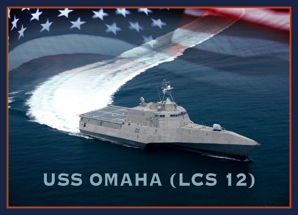 An artist rendering of the littoral combat ship USS Omaha (LCS-12). LCS-12 is the fourth Navy vessel to bear the name (U.S. Navy photo illustration by Stan Bailey)