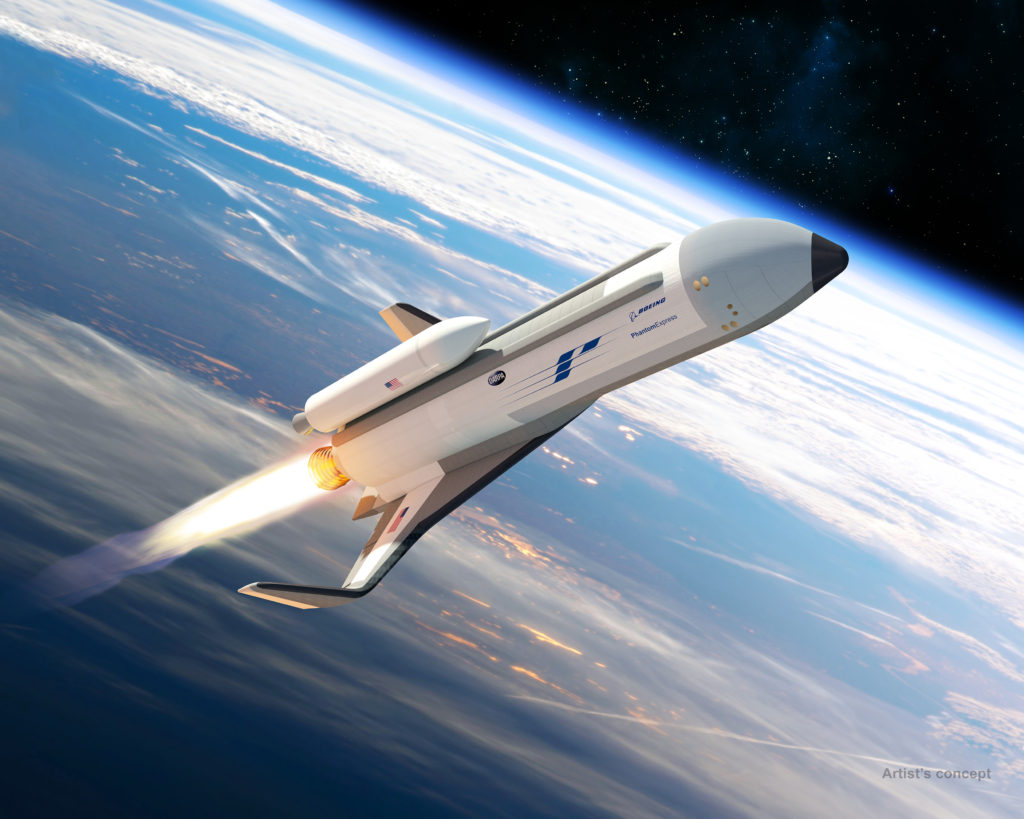 Phantom Express is envisioned as a highly autonomous experimental spaceplane, shown preparing to launch its expendable second stage on the top of the vehicle in this artist's concept. The Defense Advanced Research Projects Agency is collaborating with Boeing to fund development of the Experimental Spaceplane (XS-1) program (Boeing rendering)