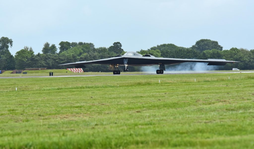 A B-2 Spirit deployed from Whiteman Air Force Base, Missouri, lands on the flightline at Royal Air Force Fairford, United Kingdom, June 9, 2017. The B-2 regularly conducts strategic bomber missions that demonstrate the credibility of the bomber forces to address a global security environment (U.S. Air Force photo/ Technical Sergeant Miguel Lara III)