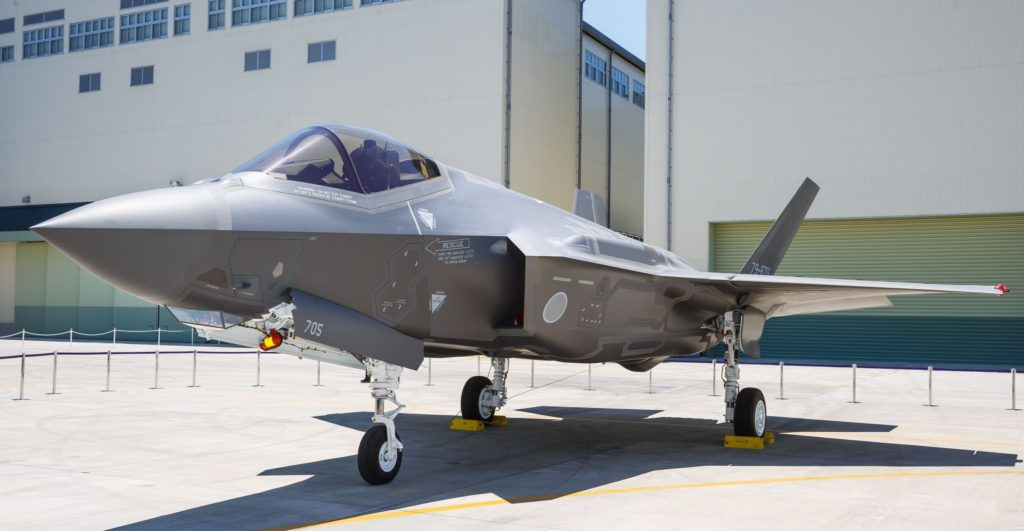 AX-5, the first Japanese-assembled F-35A was unveiled in Nagoya Japan on 5 June 2017. The aircraft was built at Mitsubishi Heavy Industries (MHI) F-35 Final Assembly and Check Out (FACO) facility. The Japan F-35 FACO is operated by MHI with technical assistance from Lockheed Martin and oversight from the U.S. Government (Photo by Thinh Nguyen, Lockheed Martin)