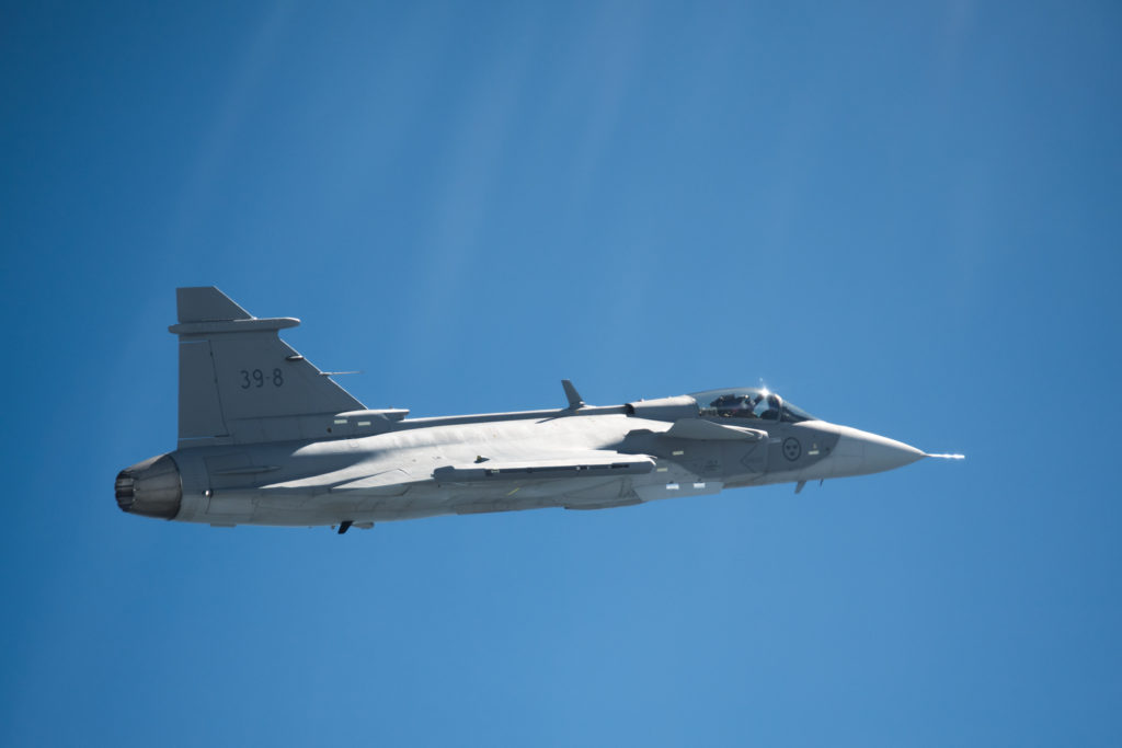 Saab has flown its Gripen-E new-generation fighter for the first time, almost exactly 13 months after its official roll-out. Developed for Sweden, it has also been ordered by Brazil and is being marketed world-wide (Saab photo)