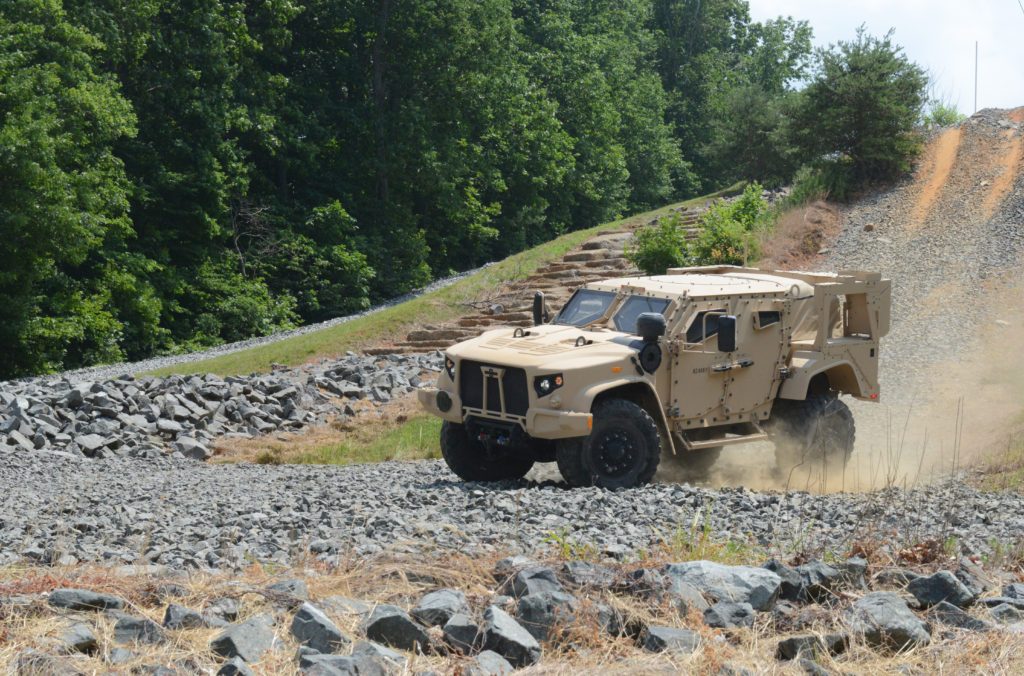 A Joint Light Tactical Vehicle does a demonstration run around Marine Corps Base Quantico, Virginia, June 14, 2017 (Photo Credit: David Vergun)