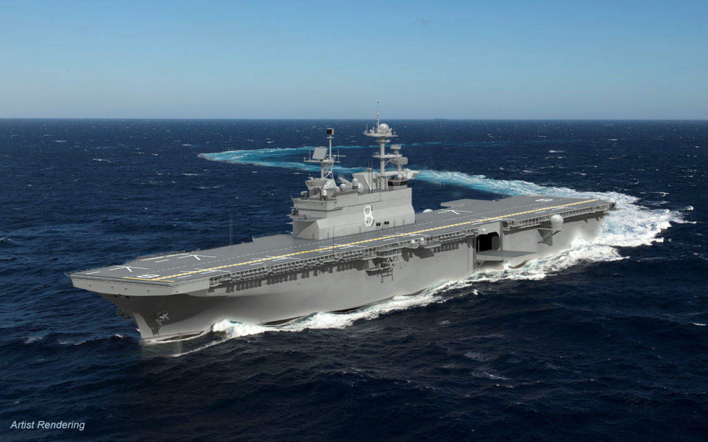 Construction of the amphibious assault ship USS Bougainville (LHA-8) is scheduled to begin in the fourth quarter of 2018, and delivery is expected in 2024