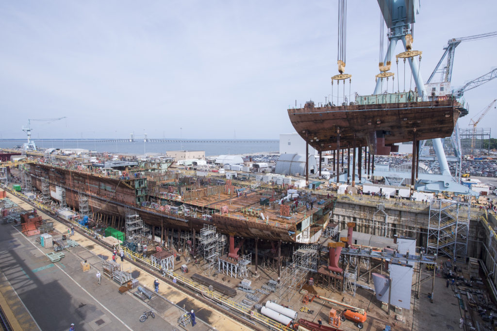 Aircraft Carrier John F. Kennedy (CVN-79) Reaches 50 Percent Structural Completion