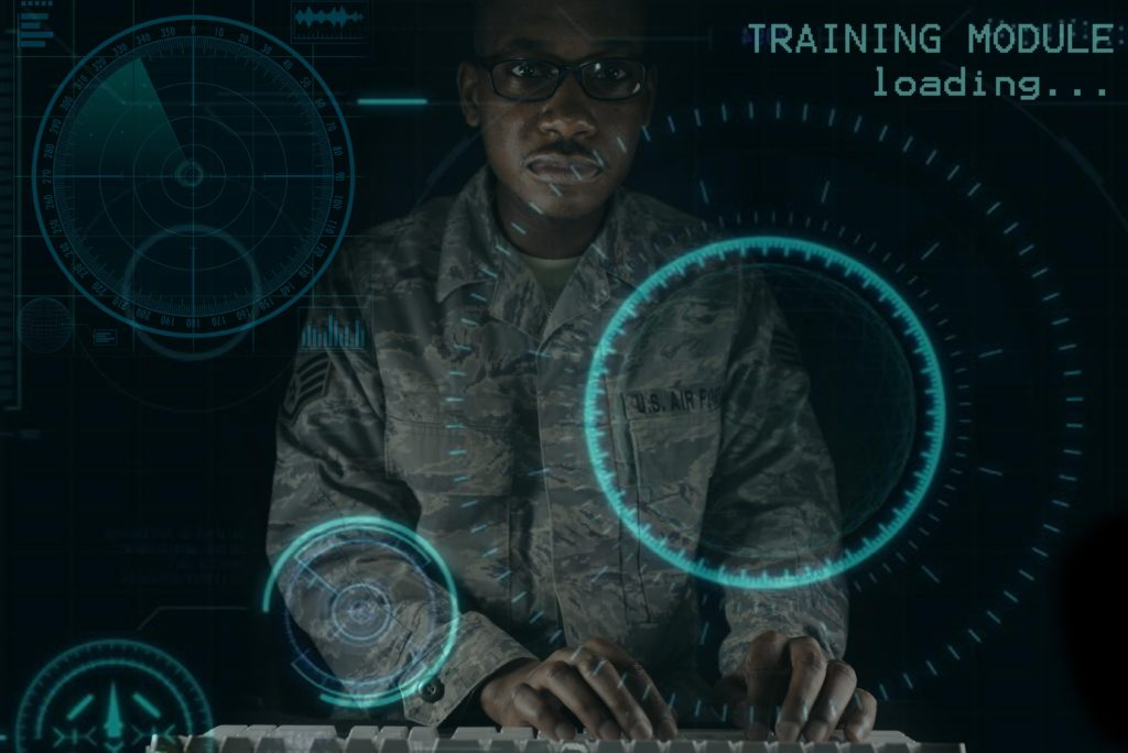 Exploitation Analyst airmen assigned to the 41st Intelligence Squadron have begun using advanced mobile desktop training that uses an environment to challenge each individual analyst in cyberspace maneuvers to achieve mission objectives at Fort George G. Meade, Maryland Air Force (Illustration by Staff Sergeant Alexandre Montes)