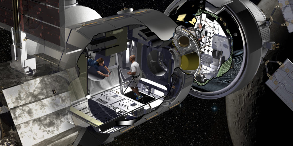 Lockheed Martin artist rendering of the NextSTEP habitat docked with Orion in cislunar orbit as part of a concept for the Deep Space Gateway. Orion will serve as the habitat's command deck in early missions, providing critical communications, life support and navigation to guide long-duration missions