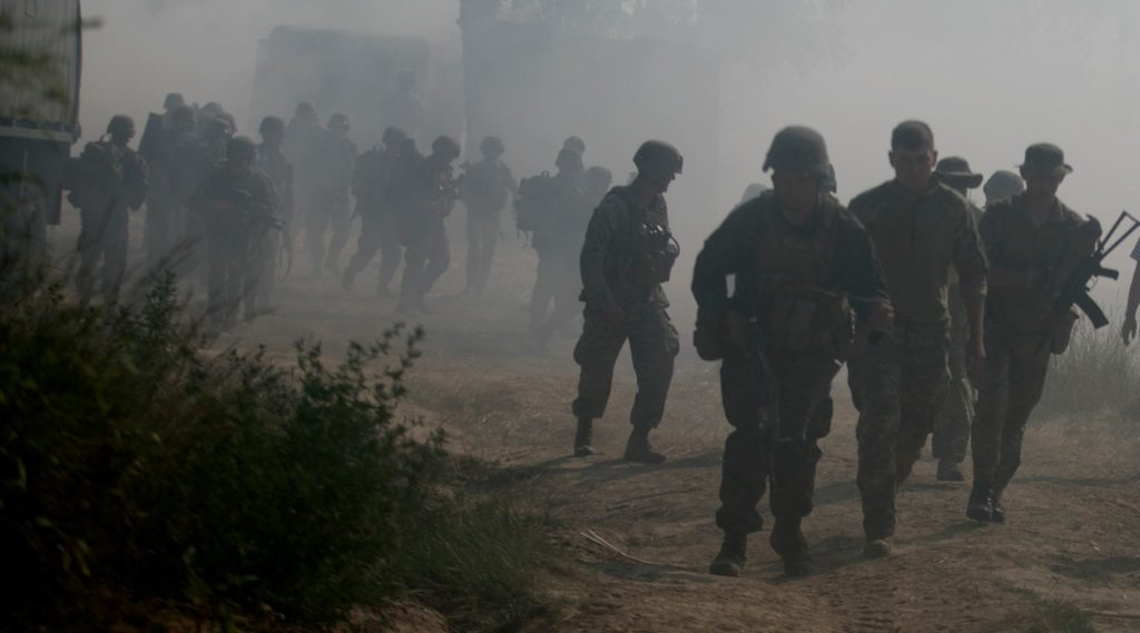 U.S. and Ukrainian Marines navigate the haze during an amphibious assault at Exercise Sea Breeze