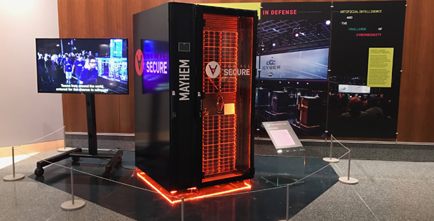 A stand-alone exhibit titled, «Innovations in Defense: Artificial Intelligence and the Challenge of Cybersecurity», features Pittsburgh-based team ForAllSecure's Mayhem Cyber Reasoning System. The system took first place at the August 2016 Cyber Grand Challenge finals, beating out six other computers. The Mayhem CRS is now on display at the Smithsonian's National Museum of American History. The exhibit was produced by the Lemelson Center for the Study of Invention and Innovation. The exhibit will run through September 17, 2017 (DoD photo)