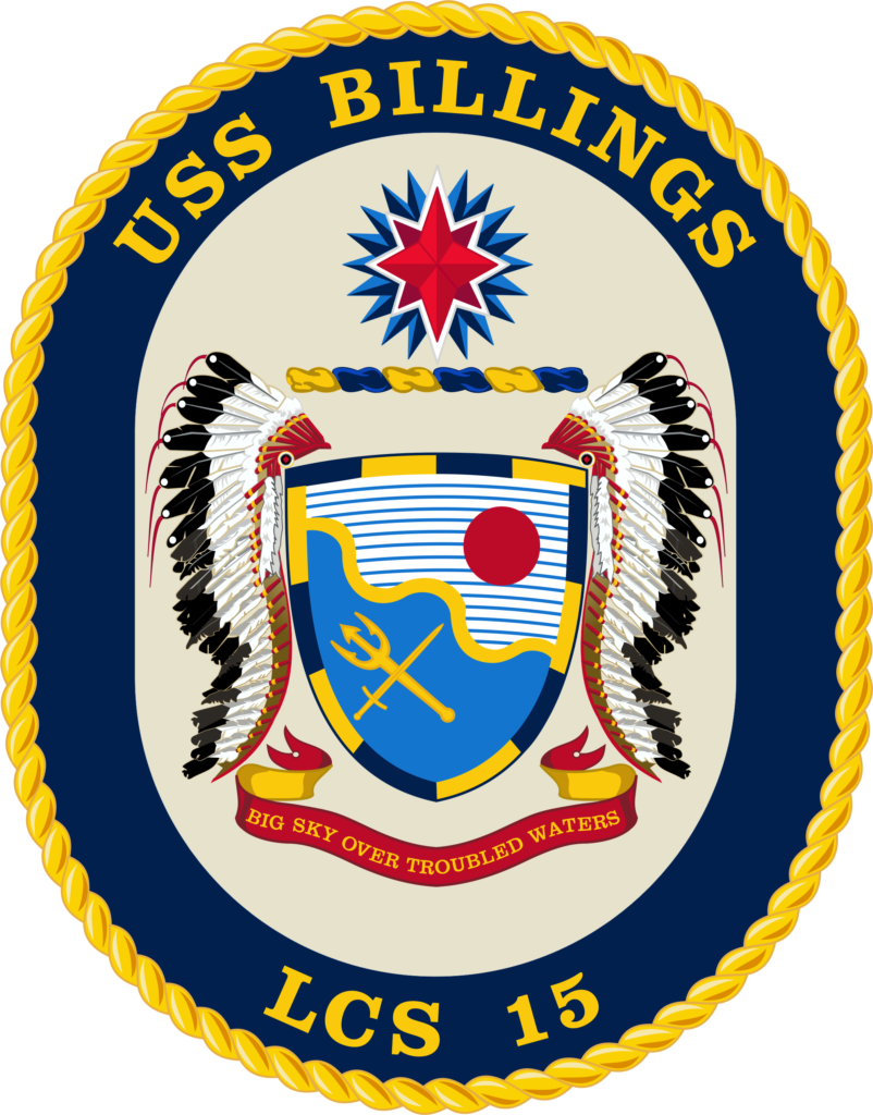 The official crest of the Freedom-variant littoral combat ship USS Billings (LCS-15) (U.S. Navy graphic/Released)