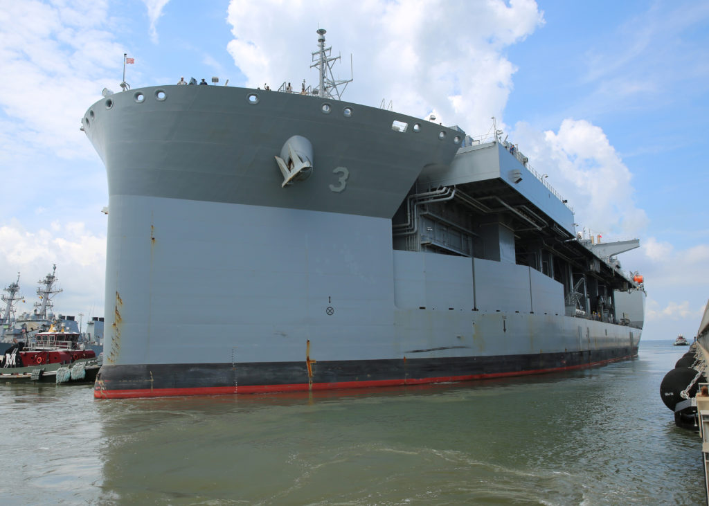 The Military Sealift Command expeditionary mobile base USNS Lewis B. Puller (T-ESB-3) departs Naval Station Norfolk for its first operational deployment (U.S. Navy photo)