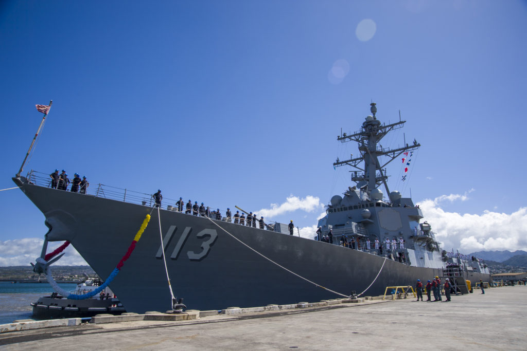 The future Arleigh Burke-class guided-missile destroyer USS John Finn (DDG-113) is pierside at Joint Base Pearl Harbor-Hickam in preparation for its commissioning ceremony (U.S. Navy photo by Mass Communication Specialist 3rd Class Justin R. Pacheco/Released)