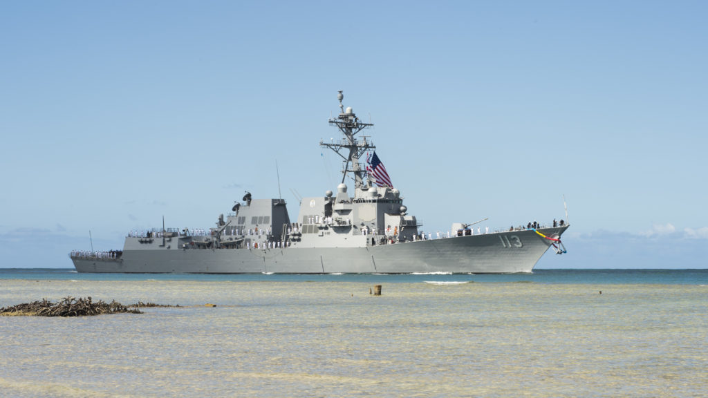 The future Arleigh Burke-class guided-missile destroyer USS John Finn (DDG-113) arrives at Joint Base Pearl Harbor-Hickam in preparation for its commissioning ceremony (U.S. Navy photo by Mass Communication Specialist Randi Brown/Released)